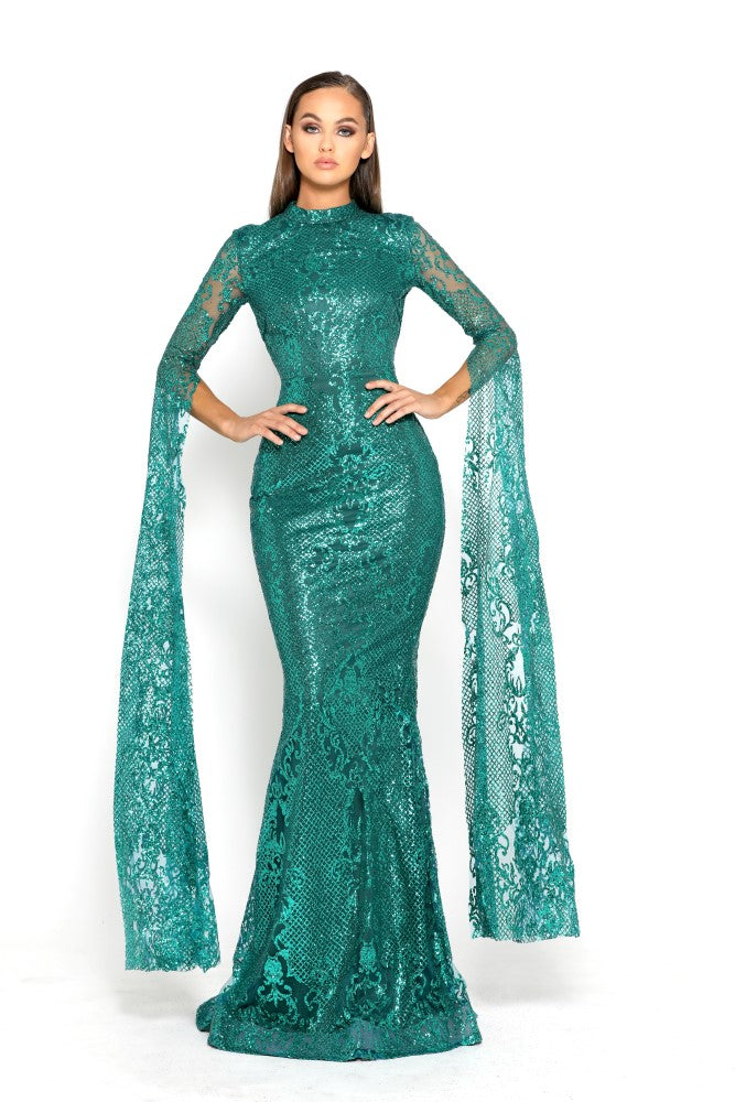 portia and scarlett morone long sleeved emerald green modest high neck gown with lace overlay Ps1943 front
