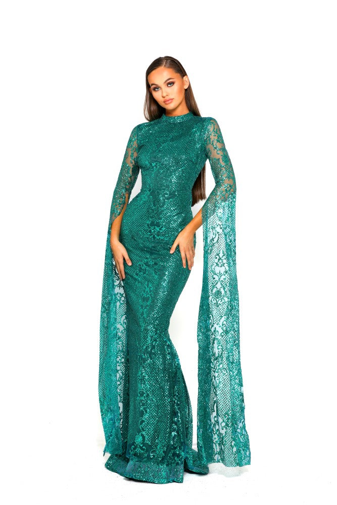 portia and scarlett morone long sleeved emerald green modest high neck gown with lace overlay Ps1943