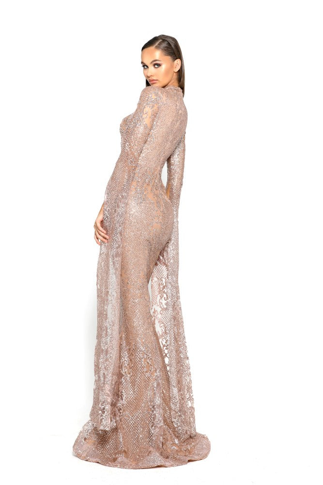 portia and scarlett morone long sleeved rose gold modest high neck gown with lace overlay Ps1943 back