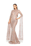 portia and scarlett morone long sleeved rose gold modest high neck gown with lace overlay Ps1943