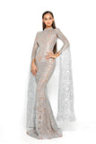 portia and scarlett morone long sleeved silver lace modest high neck gown with lace overlay Ps1943