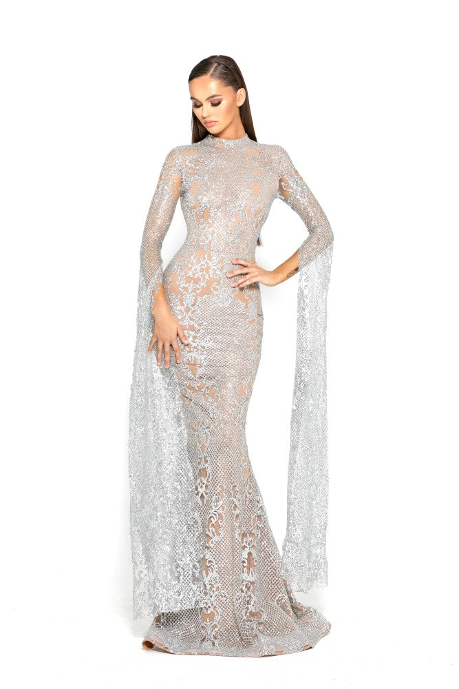 portia and scarlett morone long sleeved silver lace modest high neck gown with lace overlay Ps1943 front
