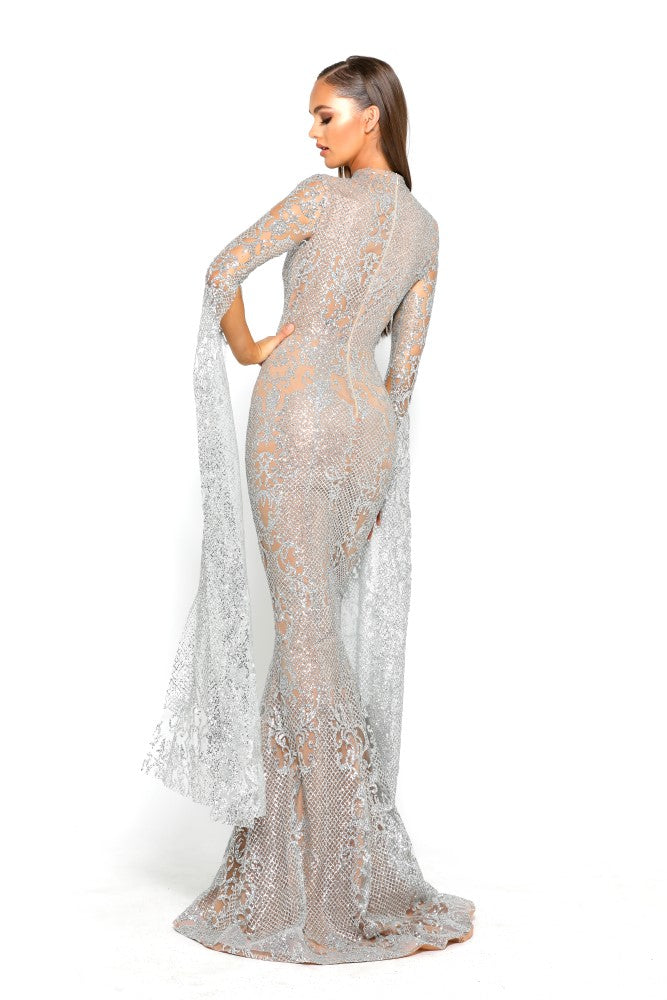 portia and scarlett morone long sleeved silver lace modest high neck gown with lace overlay Ps1943 back