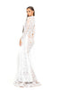 portia and scarlett morone long sleeved white lace modest high neck gown with lace overlay Ps1943 side