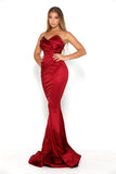 portia and scarlett stella red strapless silky satin evening dress with sweetheart neckline and mermaid train