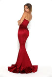 portia and scarlett stella red strapless silky satin evening dress with sweetheart neckline and mermaid train side