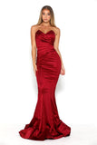 portia and scarlett stella red strapless silky satin evening dress with sweetheart neckline and mermaid train front