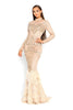 portia and scarlett nude gardenia long sleeve evening dress with beaded detail high crew neck modest dress