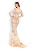portia and scarlett nude gardenia long sleeve evening dress with beaded detail high crew neck modest dress back