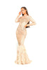 portia and scarlett nude gardenia long sleeve evening dress with beaded detail high crew neck modest dress side feathered bottom