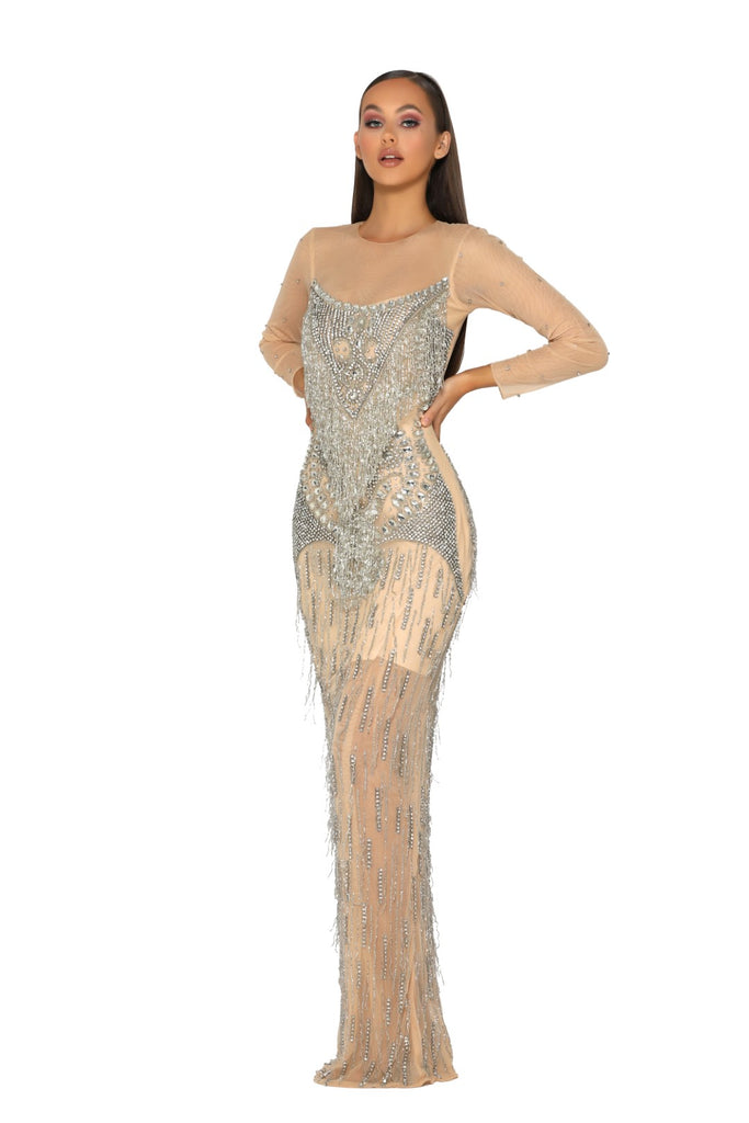 portia and scarlett 1947 gstaad swarovski crystal embellished prom dress at shaide boutique uk side