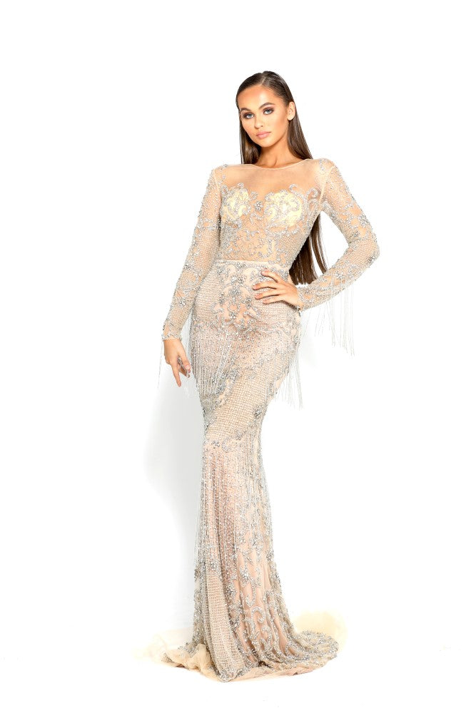Portia and Scarlett Incredible - Silver Nude PS1948 Evening Dress silver beaded long sleeved bodycon
