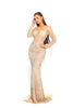 Portia and Scarlett Incredible - Silver Nude PS1948 Evening Dress silver beaded long sleeved bodycon prom dress