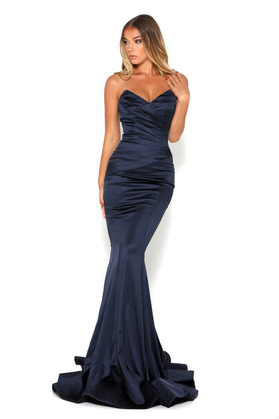 portia and scarlett stella navy blue sweetheart neckline mermaid bodycon evening dress