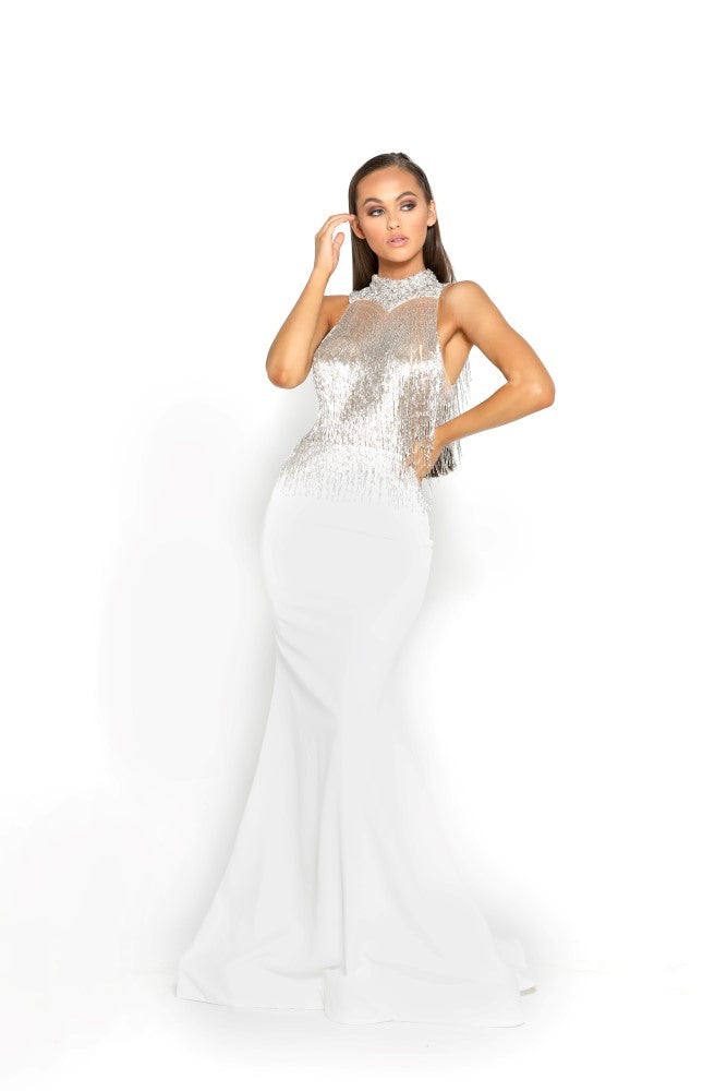 Portia & Scarlett PS1953 - CAP MARTIN beaded engagement party dress at shaide boutique uk front