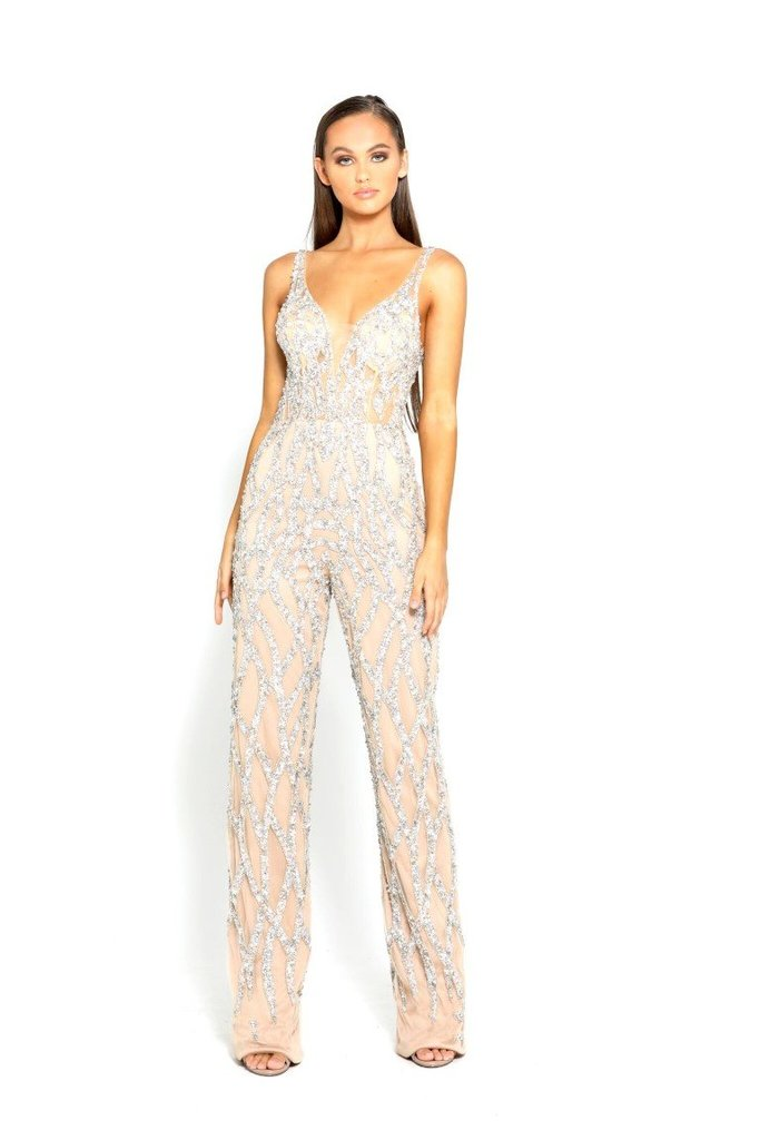 Portia & Scarlett PS1956 - SAINT-RAPHAEL Jumpsuit silver nude at shaide boutique uk