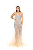 Portia & Scarlett Sammie - Crystal PS1960 Silver Nude evening dress prom shaide boutique uk side