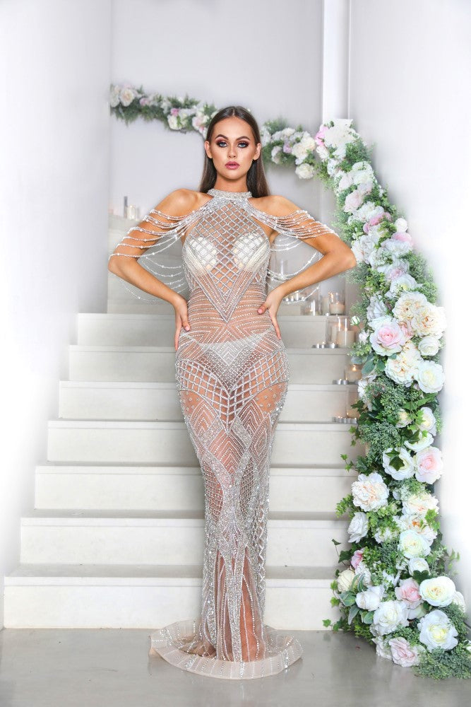 portia and scarlett silver lil audrey nude beyonce prom dress at shaide boutique uk ps1962 online