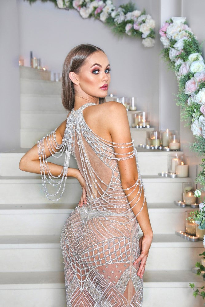portia and scarlett silver lil audrey nude beyonce prom dress at shaide boutique uk ps1962 online front