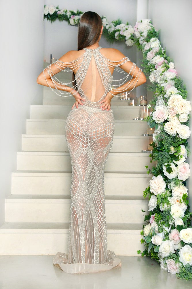 portia and scarlett silver lil audrey nude beyonce prom dress at shaide boutique uk ps1962 online back