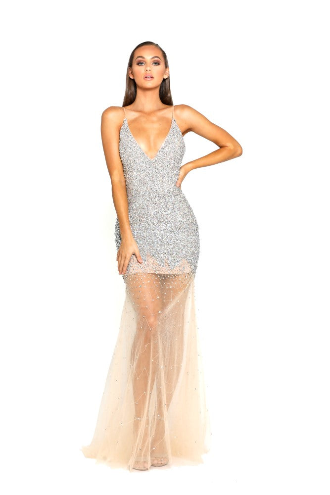 portia and scarlett kourtney ps1963 swarovski crystal couture prom dress with sheer mesh skirt at shaide boutique online uk front