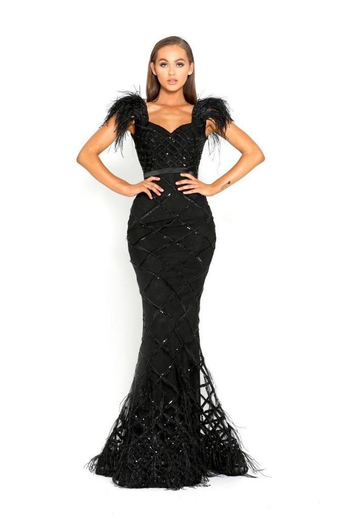 Portia & Scarlett FUFU rasaro 1971 Black evening dress with ostrich feathers and mermaid train from shaide boutique uk