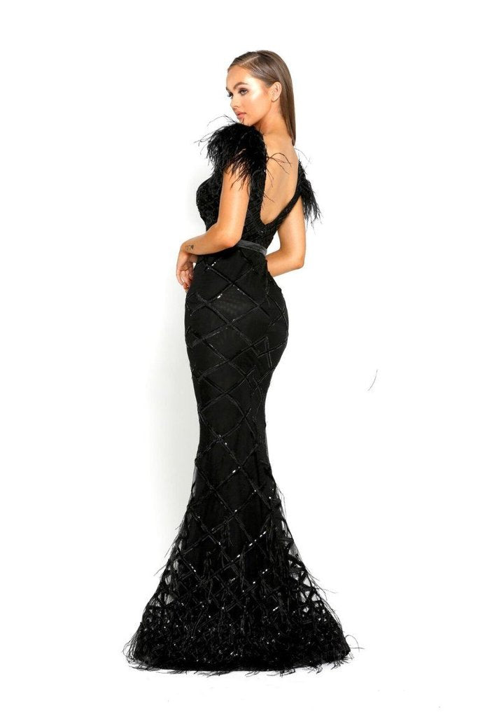 Portia & Scarlett FUFU rasaro 1971 Black evening dress with ostrich feathers and mermaid train from shaide boutique uk side