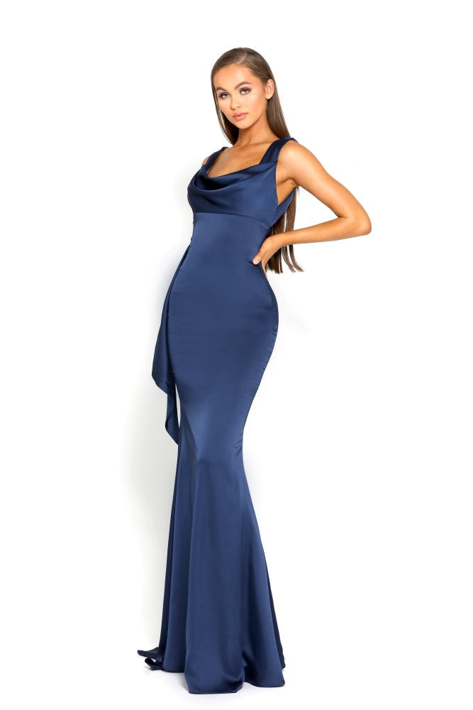 portia and scarlett ps1974 navy blue grecian style evening dress in satin at shaide boutique uk side