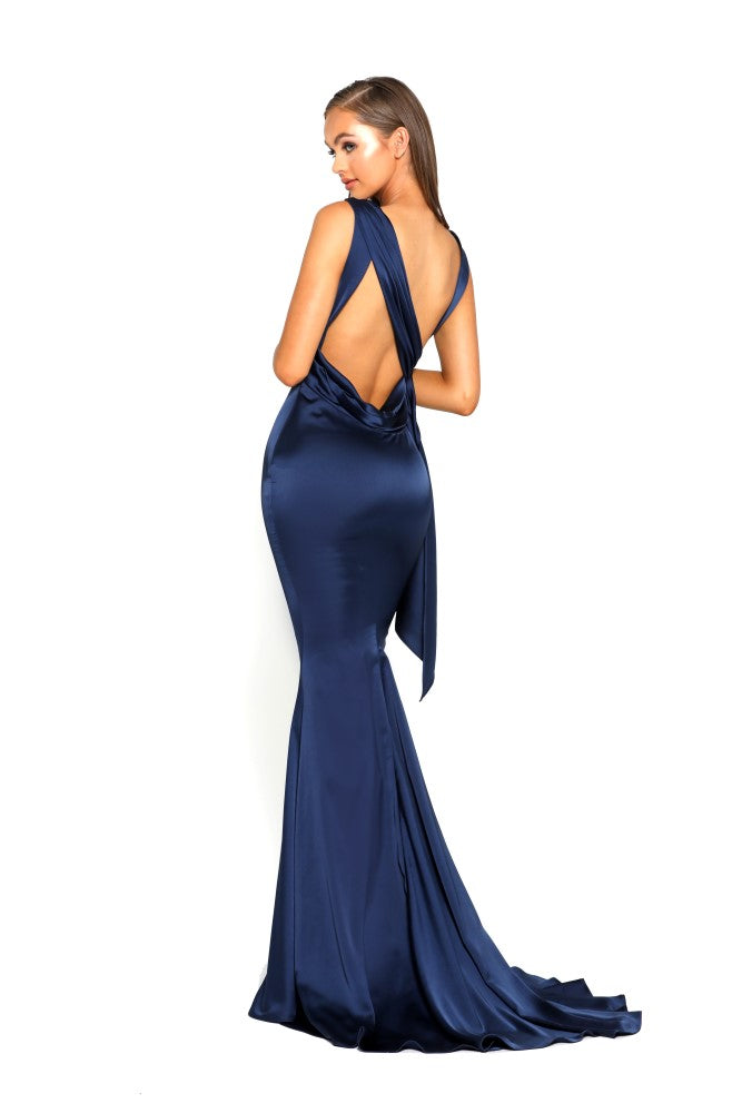 portia and scarlett ps1974 navy blue grecian style evening dress in satin at shaide boutique uk