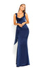 portia and scarlett ps1974 navy blue grecian style evening dress in satin at shaide boutique uk front