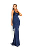 portia and scarlett ps1974 navy blue grecian style evening dress in satin at shaide boutique uk left side