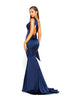 portia and scarlett ps1974 navy blue grecian style evening dress in satin at shaide boutique uk back