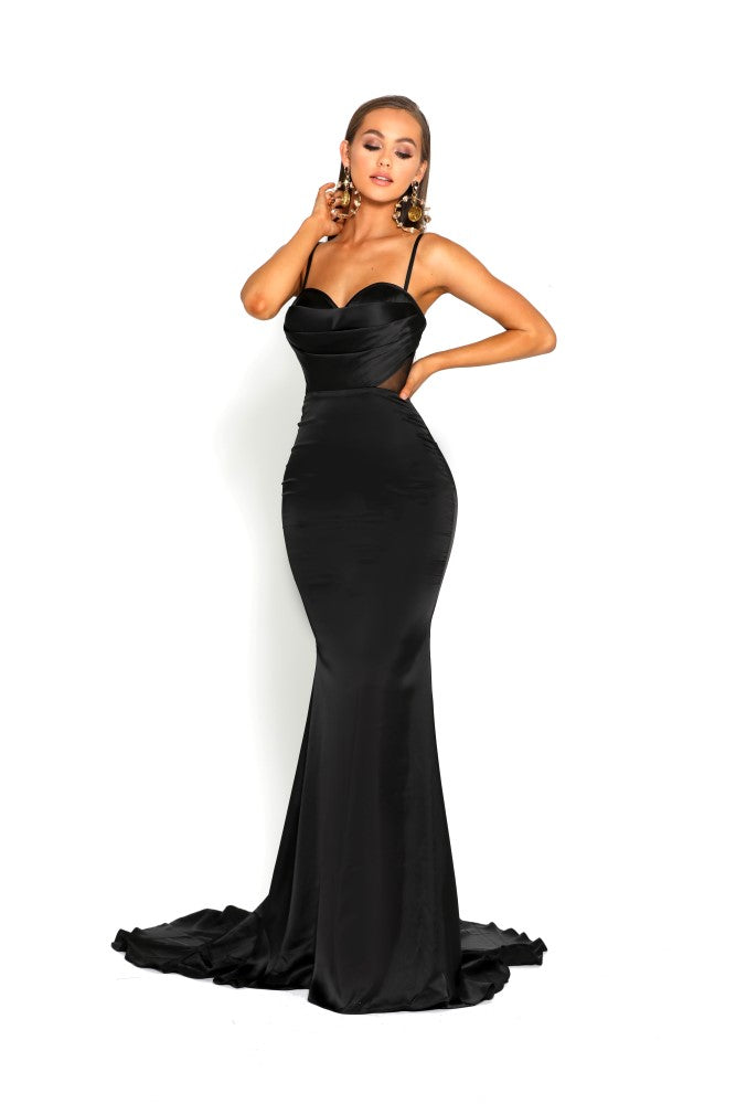 portia and scarlett portia 1977 black sexy bodycon fit evening dress with sheer panels mermaid train prom dress from shaide boutique uk front