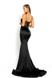 portia and scarlett portia 1977 black sexy bodycon fit evening dress with sheer panels mermaid train prom dress from shaide boutique uk front back