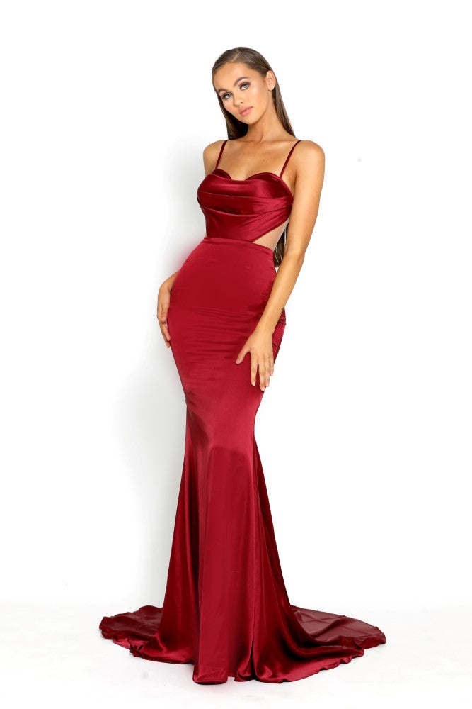 portia and scarlett portia 1977 sexy red bodycon fit evening dress with sheer panels mermaid train prom dress from shaide boutique uk