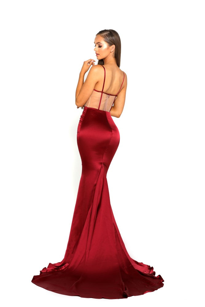 portia and scarlett portia 1977 sexy red bodycon fit evening dress with sheer panels mermaid train prom dress from shaide boutique uk back view