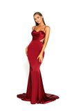 portia and scarlett portia 1977 sexy red bodycon fit evening dress with sheer panels mermaid train prom dress from shaide boutique uk front