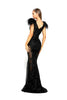 portia and scarlett fufu dress 1986 black maxi gown with sheer side panels bodycon fit at shaide boutique london uk back