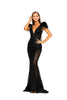 portia and scarlett fufu dress 1986 black maxi gown with sheer side panels bodycon fit at shaide boutique london uk