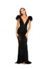 portia and scarlett fufu dress 1986 black maxi gown with sheer side panels bodycon fit at shaide boutique london uk front