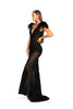 portia and scarlett fufu dress 1986 black maxi gown with sheer side panels bodycon fit at shaide boutique london uk side
