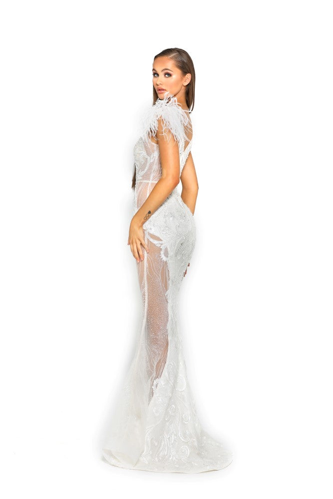 portia and scarlett fufu dress 1986 white maxi gown with sheer side panels bodycon fit at shaide boutique london uk side