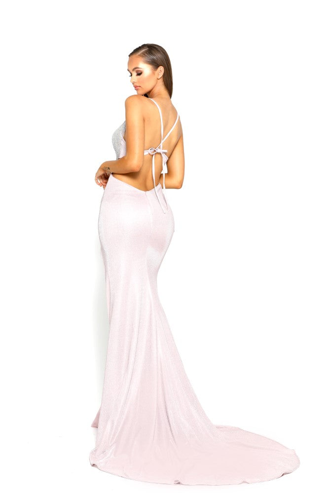 Portia & Scarlett PS1987 - JUAN LES PINS pink backless halterneck evening gown with thigh high split next day delivery at shaide boutique uk back