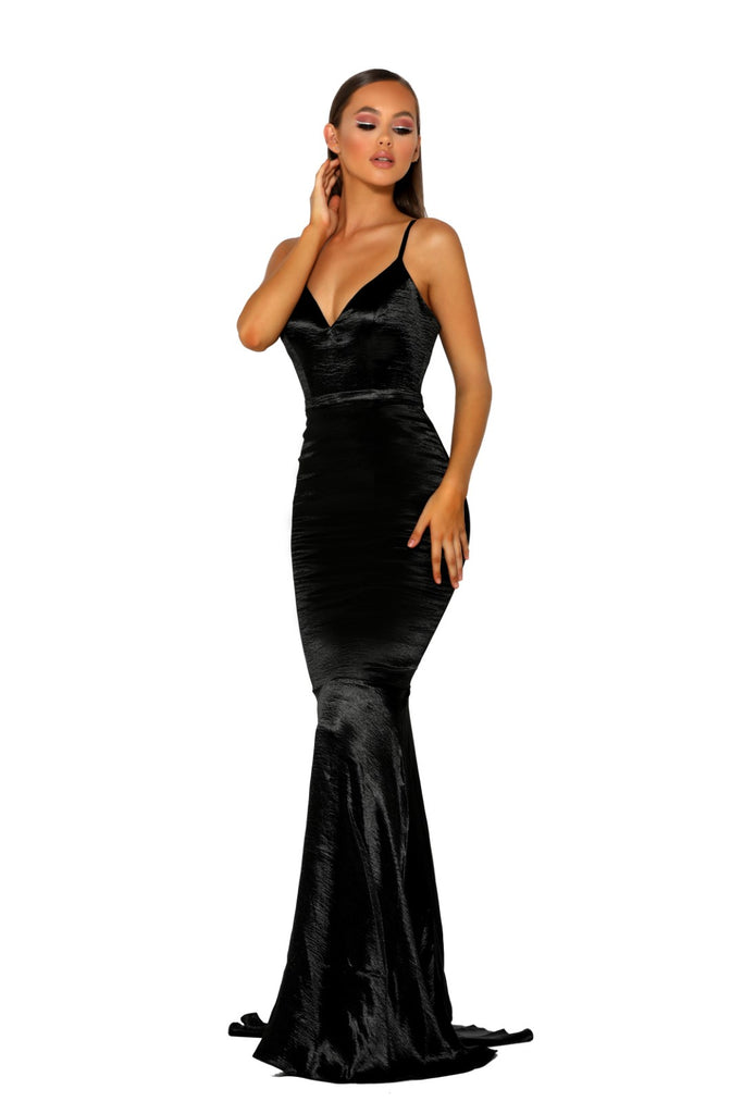 portia and scarlett ps2003 black silky prom dress shiran at shaide boutique uk london front