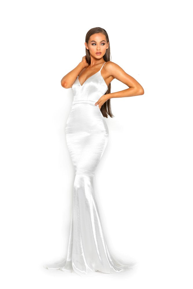 portia and scarlett cheryl ps1934 long backless prom dress with mermaid train silvery white front
