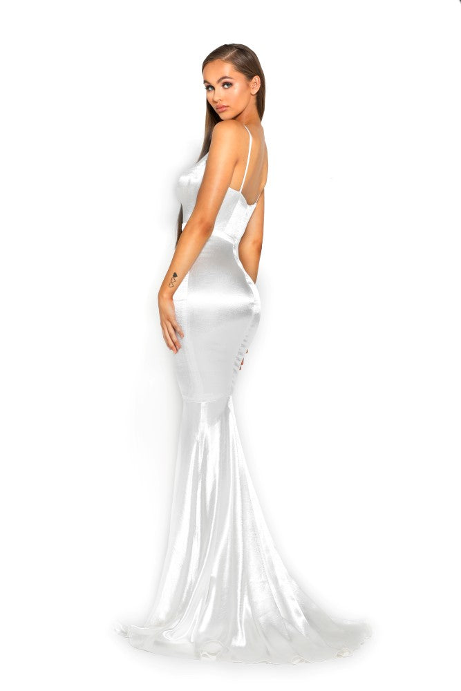 portia and scarlett cheryl ps1934 long backless prom dress with mermaid train silvery white side