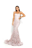 portia and scarlett holly ps2009 corset bodycon long boned mermaid prom dress blush