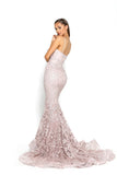 portia and scarlett holly ps2009 corset bodycon long boned mermaid prom dress blush side