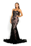 portia and scarlett ps2009 black corset mermaid bodycon prom dress