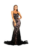 portia and scarlett ps2009 black corset mermaid bodycon prom dress front